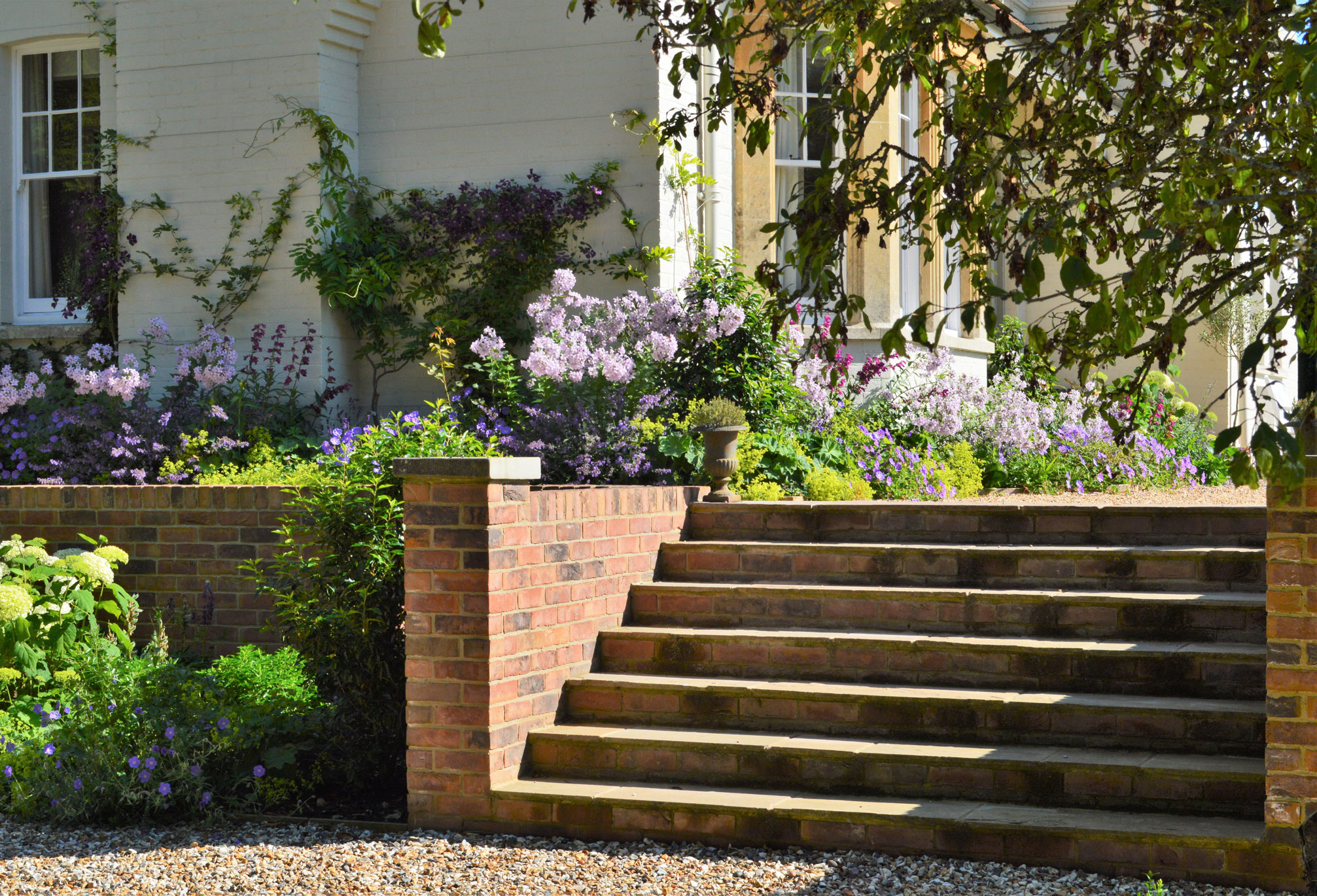Landscape design with brick and stone steps